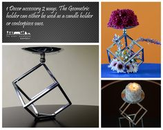 1 Decor accessory 2 ways.  The Geometric holder can either be used as a candle holder or centerpiece vase. #theeventwarehouse #rentals See more- http://www.theeventwarehouse.co.ke/portfolio/