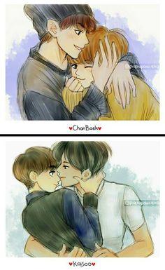 Chanbaek and Kaisoo exo Chanbaek Fanart, Exo Chanbaek, Kpop Fanart, Chanyeol, Exo Ot12, Sistema Solar, K Pop, Seme Uke, Anime Korea