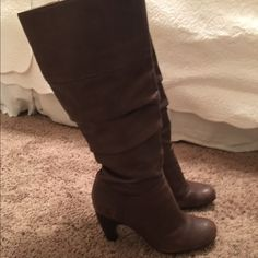 Söfft Chocolate Brown Heeled Boots Beautiful soft chocolate leather on this boot with a cute heel. The heel is just high enough for style but not so high that they are uncomfortable. Worn twice with minor scuffing on the toe of the left boot (refer to photo). The leather appears a little distressed. Sofft Shoes Winter & Rain Boots