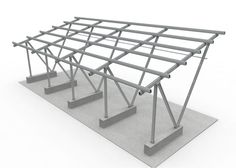 Structure Solar Carport on Shade Structure, Steel Structure, Parking Plan, Aluminum Carport, Car Shed, Car Canopy, Car Shelter, Roof Truss Design, Solar Power Kits