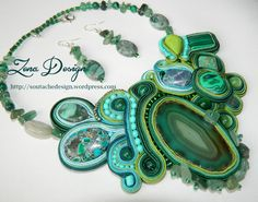 "NEW! Colier soutache ""Green Trees with Druids""   Zena Design"