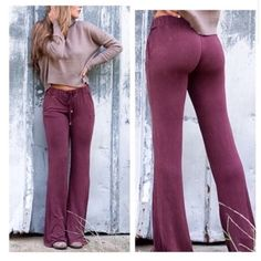 Burgundy Lace Up Boho Pants Size Small So stylish!  Burgundy wine flare bell pants, lace up with drawstring, Cotton Poly Spandex Blend.  Size Small. No Trades, Price Firm unless Bundled.  BUNDLE 3 OR MORE ITEMS FOR 15 % OFF Boutique Pants