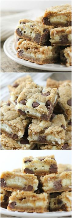 The BEST Chocolate Chip Cookie Cheesecake Bars. The best cookie dough with a creamy cheesecake center. These bars are always a hit!