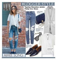 """Blogger Style-Topshop Sleeveless Jacket+ Pointy Croc Shoes(Aimee Song)"" by kusja ❤ liked on Polyvore featuring Chanel, RetroSuperFuture, Topshop, BloggerStyle, topshop and aimeesong"