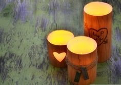 Creative Natural Look Faux Wood Carved Candles On This Valentine's Day