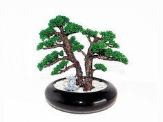 24 cm Two Beaded Pine Bonsais with Pagoda in Black Ceramic Vase. Artificial Forest Style Bonsai. Handmade Feng Shui Tree. Gift Zen Garden by BeadedGardenCanada on Etsy