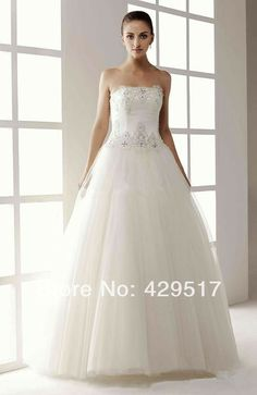 Lovely  Strapless  Ball gown  Puffy  Mariage  Floor length  Wedding Dress  for Pregnant   White debutante gowns $139.00