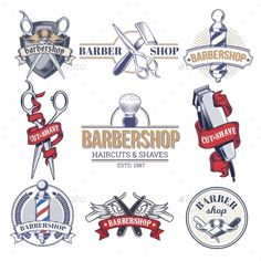 Collection Badges, Logos with Barbershop Tools - Template Vector EPS
