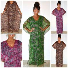 Boho Animal Printed Fully Lined Chiffon Embellished Maxi Kaftan Dress 1X 2X 3X #Neelam #MaxiCaftan #Casual