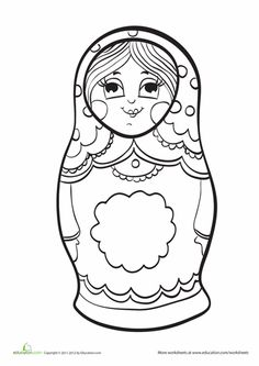 Worksheets: Matryoshka Doll Coloring Page