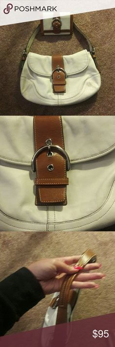 💞💕WOW! EUC Coach Soho leather Purse & Wallet💕💞 💞💕Excellent, like-new condition Coach ivory and tan leather large Soho bag with matching wallet. This is not the tiny bag! Large for a Coach flap bag! Both items look amazing with NO VISUAL DEFECTS! I'm in love with this set but I just have way too many bags. CLOSET CLEAN OUT!  🚫 trades Coach Bags Shoulder Bags