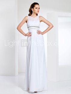 Sheath/Column Jewel Neck Empire Waist Sleeveless Chiffon Modest Prom Dress
