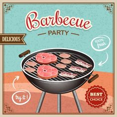 Buy Bbq Grill Poster by macrovector on GraphicRiver. Grill Party, Bbq Party, Bbq Grill, Grilling, Vintage Diy, Vintage Signs, Flyer Promo, Retro Barbecue, Barbeque Design