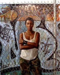 """Lori, Fence, Reminders"" by Tim Okamura Black Women Art, Black Art, Black Girls, Tim Okamura, Canadian Painters, Afro Art, African Diaspora, African American Art, Figure Painting"