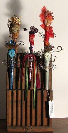 Altered paint brushes, artist: Pamela Vosseller, Title: Angels of the Five Elements.