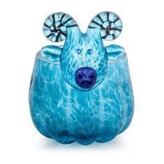 Ramy Vase: 24-11-14 in Blue, Hand-Blown Art Glass by Borowski Glass Studio