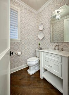 Half bathroom ideas and they're perfect for guests. They don't have to be as functional as the family bathrooms, so hope you enjoy these ideas. Update your bathroom decor quickly with these budget-friendly, charming half bathroom ideas #halfbathroom #bathroomremodeling # bathroom Small Half Bathrooms, Small Half Baths, Bathroom Small, Guest Bathrooms, Bathroom Modern, Guest Rooms, Pedestal Sink Bathroom, Bathroom Vanities, Powder Rooms