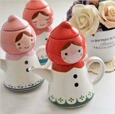 Azul Bai Papelaria - Hot venda artigos de papelaria dos desenhos animados copo chapeuzinho vermelho bule de porcelana boneca 352 US $18.34