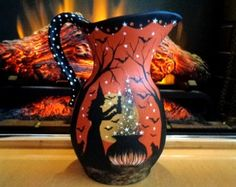 MAGICAL HALLOWEEN WITCH BLACK CATS WATER PITCHER HP bY Peggy G