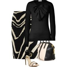 A fashion look featuring pullover sweater, zebra skirt and stiletto heel sandals.