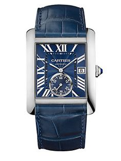 Cartier - Tank MC Automatic Stainless Steel & Alligator Strap Watch/Blue