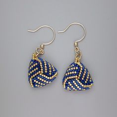 Sapphire blue & gold beadwoven knot earrings