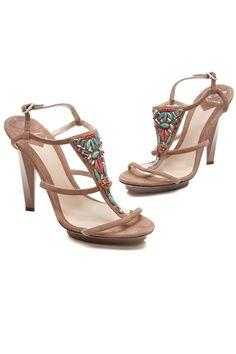 Brian Atwood Brown Suede Jewel Embellished Donosa Platform Sandals - Photo 1