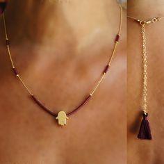 Hamsa Bordeaux necklace, Claret red necklace, simple necklace