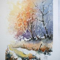 Step-by-step demo Snowy woods painting. Watercolor Pictures, Watercolor Trees, Watercolor And Ink, Watercolor Paintings, Watercolors, Watercolor Projects, Watercolor Techniques, Painting Techniques, Watercolour Tutorials