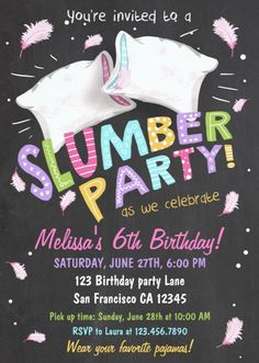 Slumber Party Pajamas Sleepover Invitation♥️ A perfect way to invite your guests to your little one's birthday party! We love to make kids laugh and can provide puppet show entertainment for your next child's birthday party Birthday Sleepover Ideas, Kids Sleepover, Slumber Party Games, First Birthday Parties, Sleepover Activities, Spa Birthday, Girls Slumber Parties, Cool Sleepover Ideas, Sleepover Cake