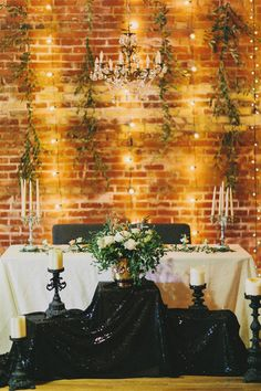 Brick wall, warm lighting, green viney things, and a black sparkly dropcloth? Wedding Cake Backdrop, Head Table Backdrop, Head Table Wedding, Wedding Wall Decorations, Art Deco Wedding, Wedding Girl, Fresco, Vancouver, Sweetheart Table
