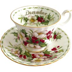 Just in time for the Holidays, here is the Royal Albert Bone China Flower of the Month Teacup and Saucer for December, Christmas Rose. Delicate