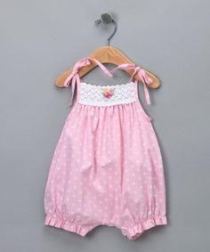 Another great find on #zulily! Pink Polka Dot Crochet Pima Bubble Romper - Infant & Toddler #zulilyfinds