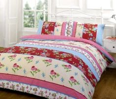 VINTAGE PATCHWORK DUVET COVER Floral Poly Cotton Bedding Bed Sets Quilt Cover Red ( green pink blue shabby chic oriental ) Single Duvet Cover