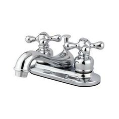Elements of Design Elizabeth Polished Chrome 2-Handle 4-in Centerset Bathroom Sink Faucet Drain Included