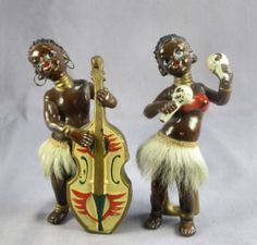 VTG ENESCO AFRICAN DANCER MUSICIAN FIGURINES HAND PAINTED PORCELAIN BASS MARACAS