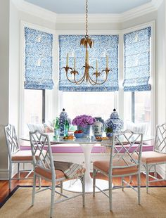 A living, dining and kitchen space all in one gets our vote for this week's Room of the Week with its traditional style and bold pattern and color choices.