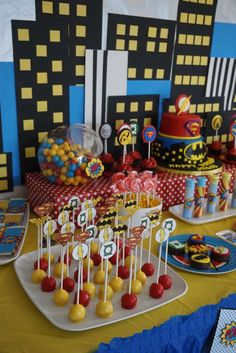 Cool cake pops at a superhero birthday party! See more party ideas at CatchMyParty.com!