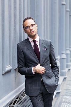 Gray Windowpane Suit: All Business