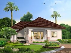 25 Impressive Small House Plans for Affordable Home Construction Modern Bungalow House, Bungalow House Plans, My House Plans, Small House Plans, One Storey House, Affordable House Plans, Three Bedroom House Plan, Beautiful House Plans, Simple House Design