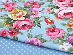 100% cotton metre VINTAGE chic BLUE floral flower dress quilting bunting craft | eBay