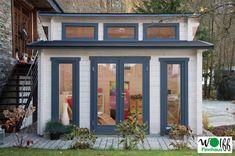 Gartenhaus WOLFF Langeoog 40 isolierverglast Stufendach Holzhaus mit Dachfenstern beliebiger Farbanstrich Bitte beachten Sie: Das Gartenhaus wird ohne Farbanstrich geliefert. Abbildung enthält Farbgestaltungsbeispiel eines Kunden.