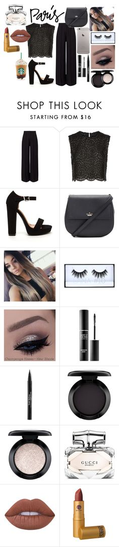 """""""I Love Paris In The Love"""" by pancakegirl-396 ❤ liked on Polyvore featuring Miss Selfridge, Costarellos, Kate Spade, Huda Beauty, MAKE UP FOR EVER, Trish McEvoy, MAC Cosmetics, Gucci, Lime Crime and Lipstick Queen"""