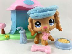 Littlest Pet Shop RARE Caramel Cocker Spaniel #1716 w/Mini House & Accessories #Hasbro