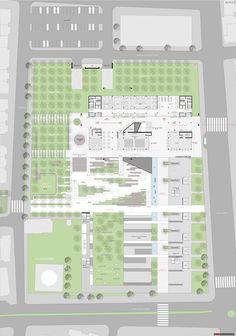 1. Ödül, Bornova Belediye Binası ve Çevresi Architecture Plan, Train Station, Floor Plans, Public, How To Plan, Landscape, Building, School, Parking Lot