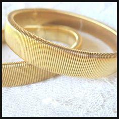 Madmen Flexible Gold Tone Bracelets Mid Century Modern