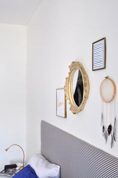 This creative home is full of DIY projects and mixes the two personalities of the adults who occupy it. For the past 11 years pastel colors have met dark tones and graphic patterns successfully.