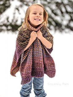 This crochet poncho pattern features a seamless design with a nice, squishy fold-down cowl. The Lucky Penny Poncho was designed using Mandala Tweed. Crochet Baby Poncho, Crochet Girls, Knitted Poncho, Crochet For Kids, Crochet Shawl, Crochet Vests, Crochet Cape, Crochet Edgings, Crochet Motif