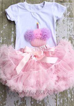 Birthday outfit! Pink chiffon pettiskirt set, kids, petti skirt, cupcake, Birthday, light pink, baby, girls skirt, toddler, baby, fluffy by POSHinPINKKIDS on Etsy