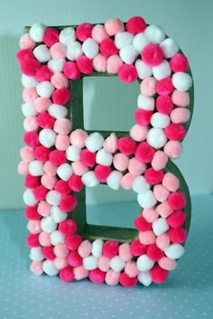 Easy DIY Baby Shower Centerpiece Idea - Pom Pom Letters made for under $5!